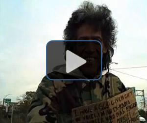 Homeless man with golden radio voice